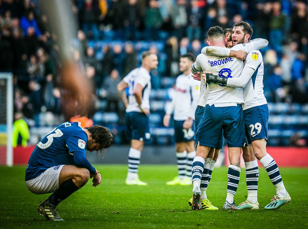 PNE v Blackburn Alan Browne, Ben Pearson and Tom Barkhuizen Goal Celebration