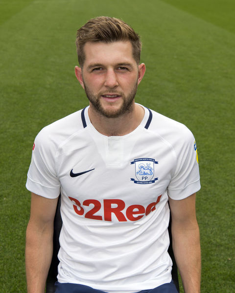 Tom Barkhuizen's 2018 PNE head shot, wearing the 2018/19 PNE home kit