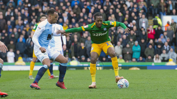 PNE midfielder Daniel Johnson holds up the ball when taking on local rivals Blackburn Rovers at Ewood Park in the Skybet Championship. Match date: Saturday 9th March 2019