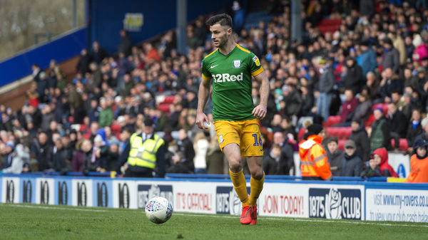 PNE left back Andrew Hughes on the ball as he looks to make a cross as PNE take on local rivals Blackburn Rovers at Ewood Park in the Skybet Championship. Match date: Saturday 9th March 2019