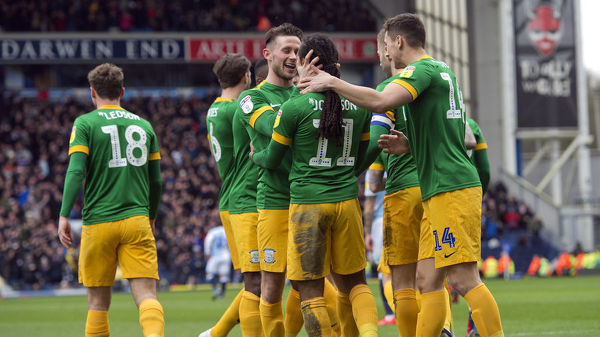 After scoring the only goal of the game as PNE took on local rivals Blackburn Rovers at Ewood Park in March, Daniel Johnson is joined by his teammates to celebrate his goal. Match date: Saturday 9th March 2019
