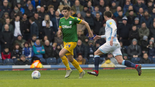 PNE defender Jordan Storey on the ball and looking to move out from the back as PNE take on local rivals Blackburn Rovers at Ewood Park in the SkyBet Championship. Match date: Saturday 9th March 2019