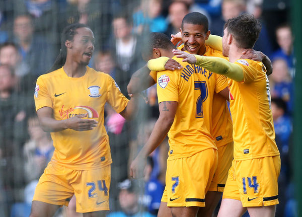 Football - Chesterfield v Preston North End - Sky Bet Football League One Play-Off Semi Final First Leg - Proact Stadium - 7/5/15   Jermaine Beckford celebrates with team mates after scoring the first goal for Preston   Mandatory Credit: Action