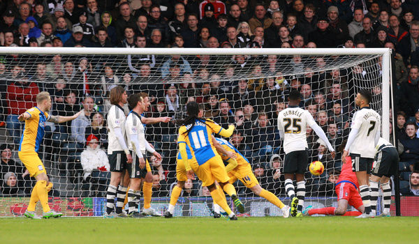 Football - Fulham v Preston North End - Sky Bet Football League Championship - Craven Cottage - 28/11/15   Preston's Joe Garner (hidden) celebrates scoring the first goal with teammates   Mandatory Credit: Action Images / David Field   Livepic