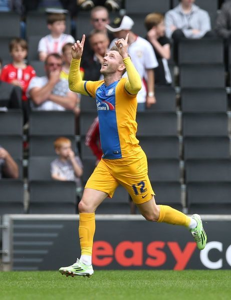 Football - Milton Keynes Dons v Preston North End - Sky Bet Football League Championship - Stadium MK - 15/8/15   Paul Gallagher celebrates scoring the first goal for Preston   Mandatory Credit: Action Images / Alex Morton   Livepic   EDITORIAL USE ONLY