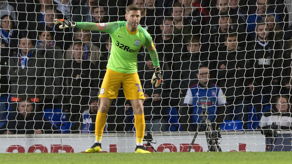 Paul Gallagher can be seen in the 2018/19 keeper shirt manning his goal after Chris Maxwell is sent off against Ipswich Town at Portman Road.  Ipswich Town v PNE, Saturday 3rd November 2018