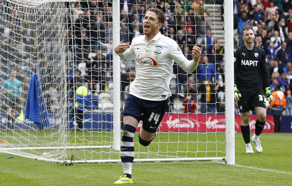 Football - Preston North End v Chesterfield - Sky Bet Football League One Play-Off Semi Final Second Leg - Deepdale - 10/5/15   Preston's Joe Garner celebrates scoring their second goal with a penalty   Mandatory Credit: Action Images / Craig Brough