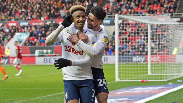 Callum Robinson is joined by Sean Maguire in celebrating his goal as PNE take on Bristol City at Ashton Gate. Bristol City vs PNE, Saturday 10th November 2018