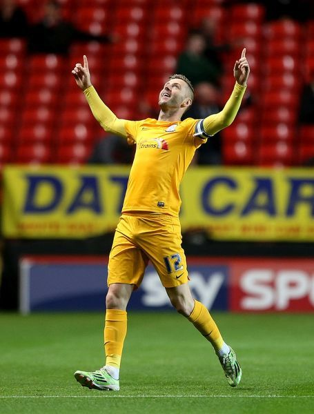 Preston North End's Paul Gallagher celebrates scoring his side's first goal of the game