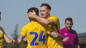 DK Flyde v PNE, Alan Browne and Sean Maguire Yellow kit