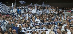 PNE Fans Bearing We Are Preston Scarfs at Wembley 2015