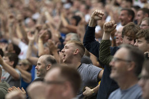 PNE Fans Following The Action At Deepdale
