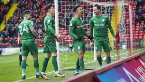Sheffield United v PNE Maguire, Harrop, Cunningham and Browne Goal Celebration (1)
