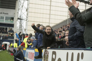 Young PNE Fans Celebrate Goal At Deepdale